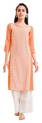 NAARI Women Rayon Embroidered Straight Kurta - Orange