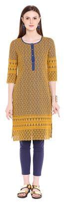 NAARI Women Chambray Embroidered Straight Kurta - Blue