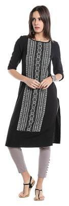 NAARI Women Viscose Embroidered Straight Kurta - Black