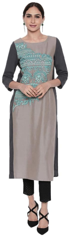NAARI Grey 3/4 Sleeve Linolio Fabric Embroidered Kurti For Women's