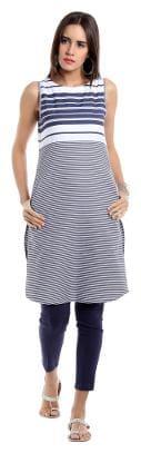 NAARI Women Rayon Striped Straight Kurta - Blue