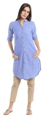 NAARI Women Denim Solid Straight Kurta - Blue