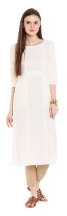 NAARI Women Rayon Solid Straight Kurta - White
