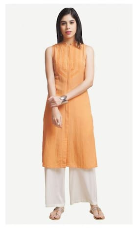 Naari Orange Viscose Rayon SOLID Kurti