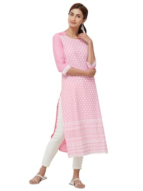 NAARI Women Rayon Solid A line Kurti - Pink