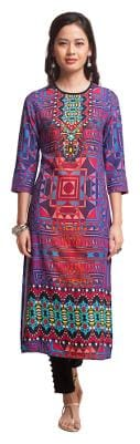 NAARI Women Rayon Printed Straight Kurta - Purple