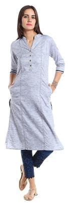 NAARI Women Rayon Solid Straight Kurta - Grey