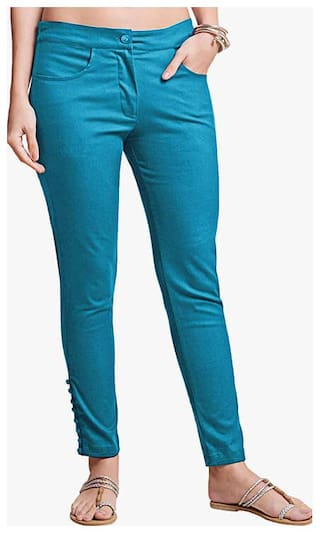NAARI Women Slim fit High rise Embroidered Cigarette pants - Blue
