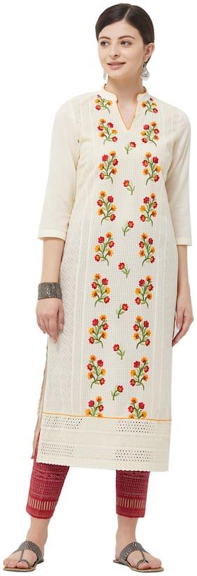 Women Embroidered A Line Kurti