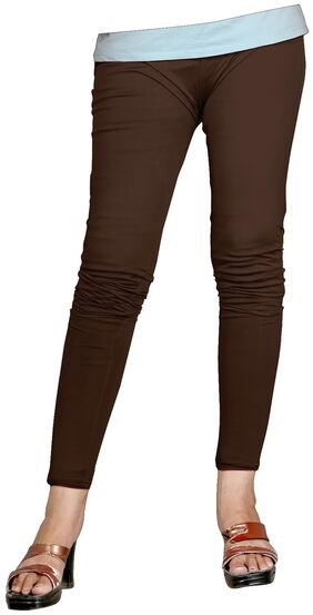 Naisargee Super Soft Brown Color Cotton Ankle Length Leggings for Women's and Girl's (Free Size)