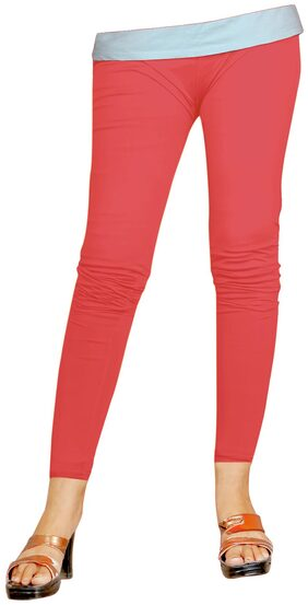 Naisargee Super Soft cherry red Color Cotton Ankle Length Leggings for Women's and Girl's (Free Size)