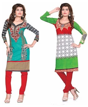 Nakoda Creation Multicolor Women's Cotton Printed Unstitched Kurti Fabric (Pack of 2)