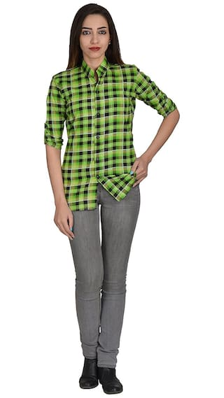 Nakoda Creation Women's Checkered Casual Green;Black Shirt