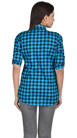 Shirt Checkered Nakoda Blue;Black Casual Creation Women's SUXScq8H