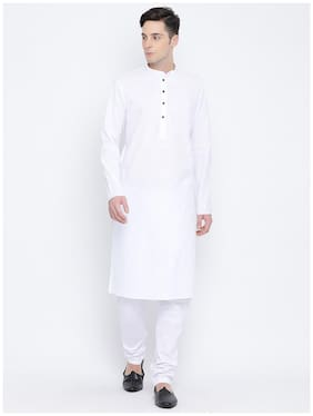 NAMASKAR White Solid Kurta and Churidar with