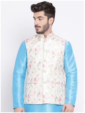 NAMASKAR Men Peach Printed Regular Fit Ethnic Jacket