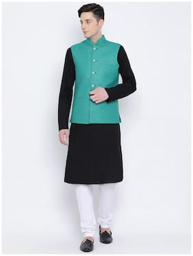 NAMASKAR Black Solid Kurta and Churidar with With Nehru Jacket