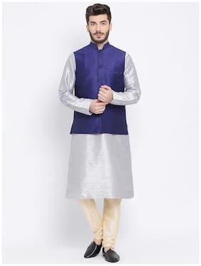 NAMASKAR Silver Solid Kurta and Churidar with With Nehru Jacket