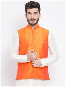 NAMASKAR Men Orange Solid Regular Fit Ethnic Jacket
