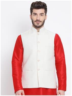 NAMASKAR Men White Self Design Regular Fit Ethnic Jacket