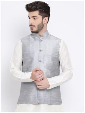 NAMASKAR Men Silver Solid Regular Fit Ethnic Jacket