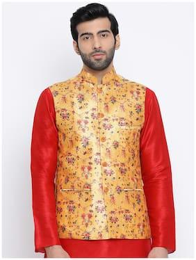 NAMASKAR Men Yellow Floral Regular Fit Ethnic Jacket