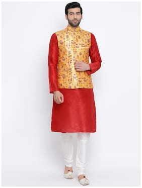 NAMASKAR Red Solid Kurta and Churidar with With Nehru Jacket