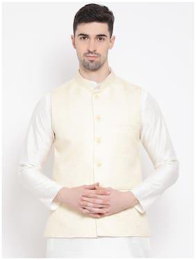NAMASKAR Men White Printed Regular Fit Ethnic Jacket