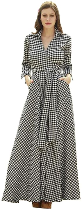 Awesome Fa Black & White Printed A-line dress