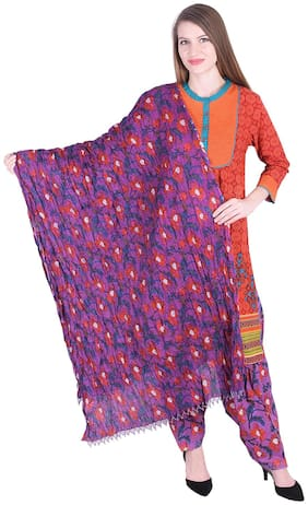 NASCENCY Women Orange Printed Straight Kurti With Patiala And Dupatta