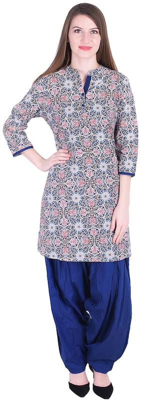 Nascency Cotton Printed Mandarin Collar 3/4 Sleeve Straight Navy-blue Casual and Party Wear Women Kurti With Patiala