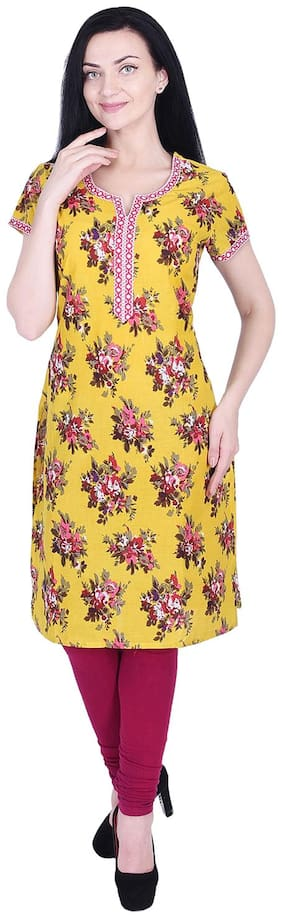 Nascency Cotton Printed V-Neck Short Sleeves Straight Yellow Casual and Party Wear Women Kurti