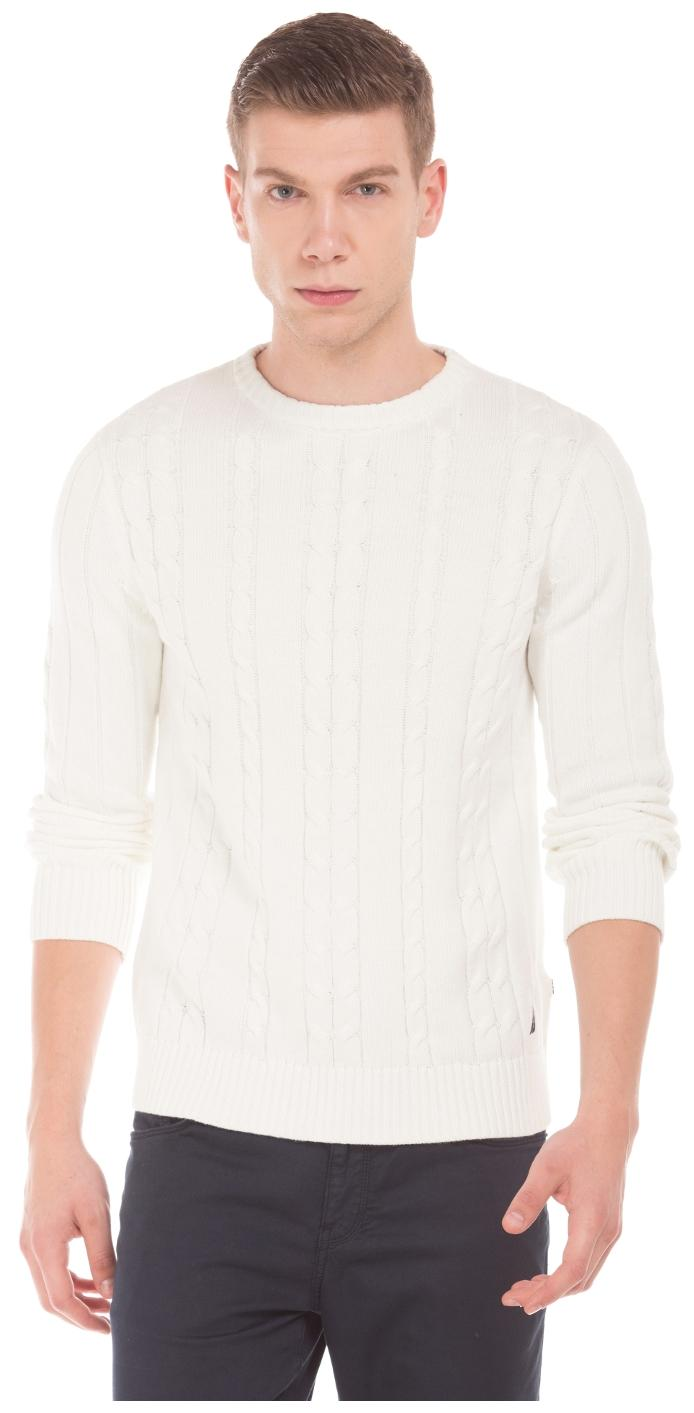 Nautica Men Cotton Sweater , White