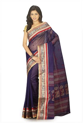 Fabluom Cotton Tant Zari work Saree - Blue , With blouse