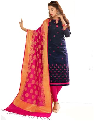 Navy Blue Glace Cotton Embroidered Suit with Heavy Banarasi Dupatta