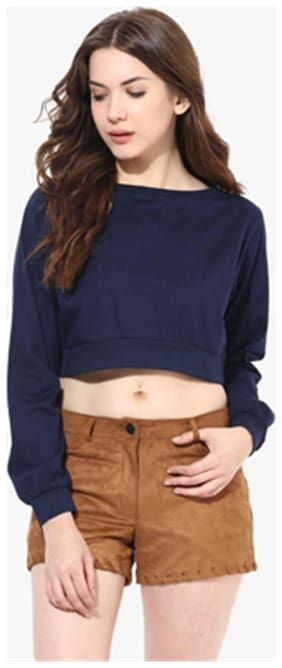 Miss Chase Women's Navy Blue Round Neck Full Sleeves Solid Crop Top