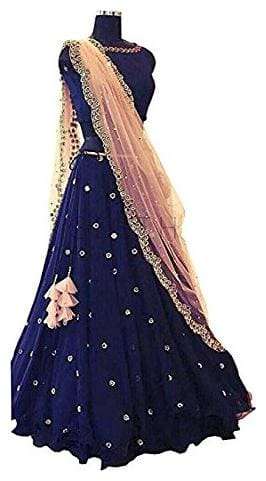 Navy Blue Taffeta Silk Embroidred Lehenga Choli