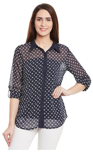 Navy Color Floral Printed Shirt