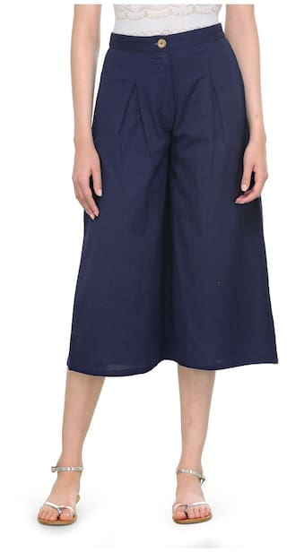 Navy Pleated Cotton Culottes
