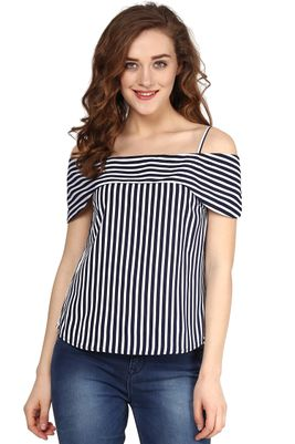 Navy Striped Off Shoulder Layered Strap Top