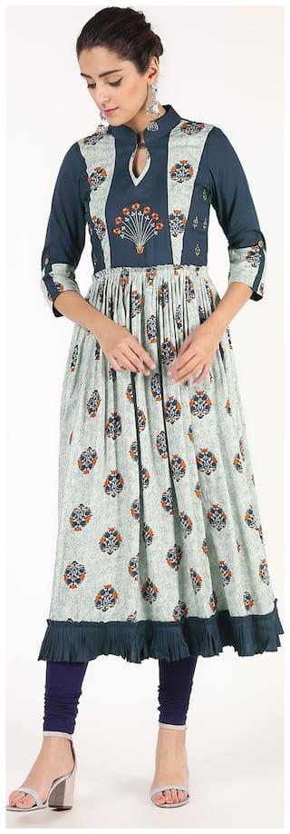 Navyatangan Women Grey & Blue Embroidered Anarkali Kurta