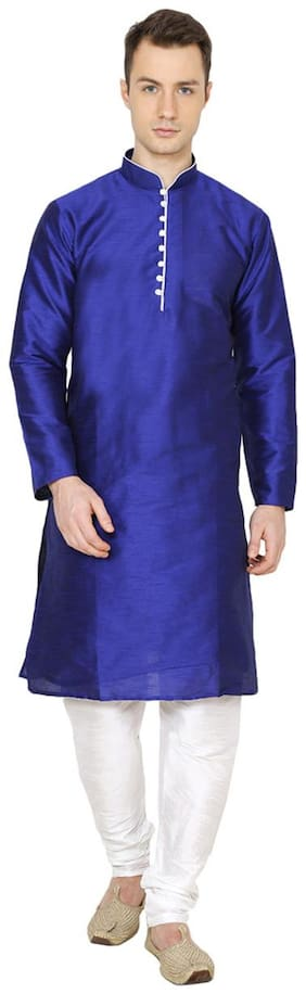 Nawab-saheb Men's Straight Long Silk Blend Kurta