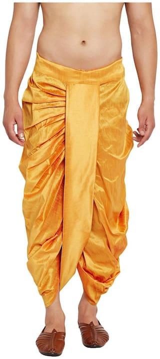 NAWAB SAHEB Blended Solid Regular dhoti Dhoti - Yellow