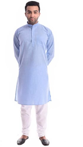 NAWAB SAHEB Men Regular fit Linen Full sleeves Solid Kurta Pyjama - Blue