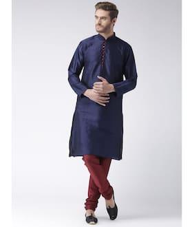 NAWAB SAHEB Men Regular Fit Dupion Full Sleeves Solid Kurta Pyjama - Blue