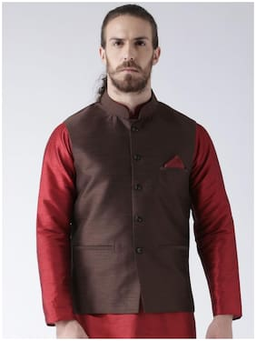 NAWAB SAHEB Men Brown Solid Regular Fit Ethnic Jacket