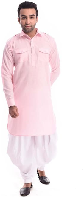 NAWAB SAHEB Men Regular fit Cotton Full sleeves Solid Kurta Pyjama - Pink