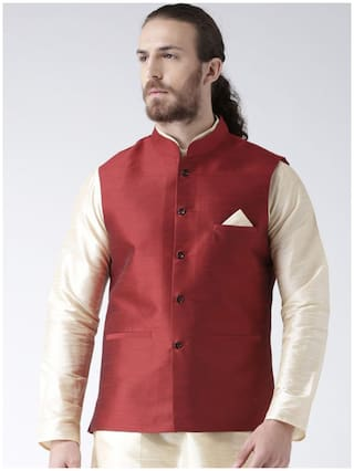 NAWAB SAHEB Men Maroon Solid Regular Fit Ethnic Jacket