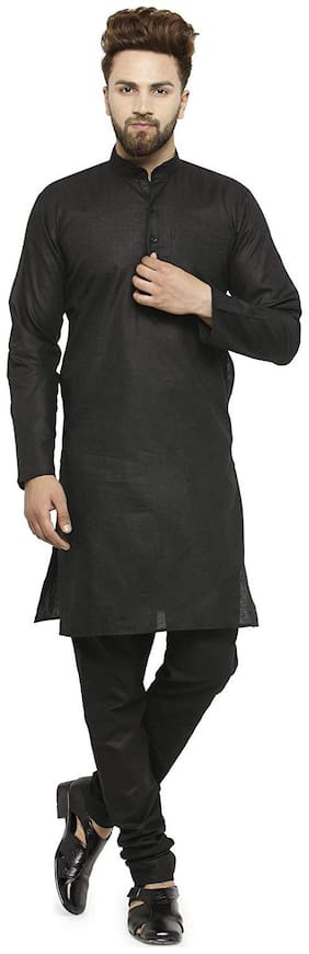 NAWAB SAHEB Black Linen Striped Casual Kurta & Pyjama