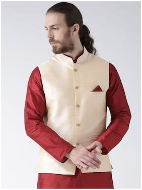 NAWAB SAHEB Men Gold Solid Regular Fit Ethnic Jacket